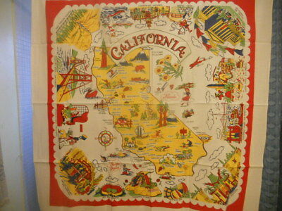 Vintage Souvenir Table Cloth California - Colorful Red-Yellow-Green Unused