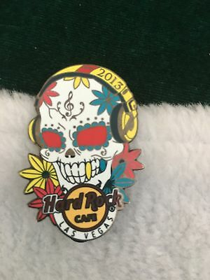 Hard Rock Cafe Pin Las Vegas White Sugar Skull w Flowers & Yellow Head Phones