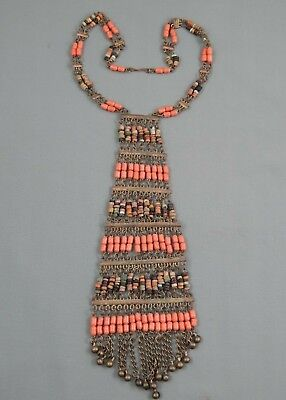 Vintage Yemen Bedouin Clay & Natural Salmon Coral Beaded Choker Bib Necklace 14""