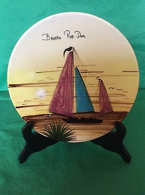 Collectible Studio Pottery Plate Hand Painted Bavaro Rep.dom Dominican Republic