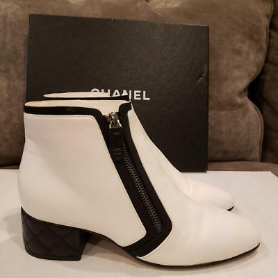 cc8f800ab123 CHANEL 18P Two Tone Leather Quilted Heel Ankle Boots Booties White Black   1300