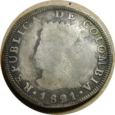 elf Colombia Cundinamarca Province 8 Reales 1821 Ba JF Silver