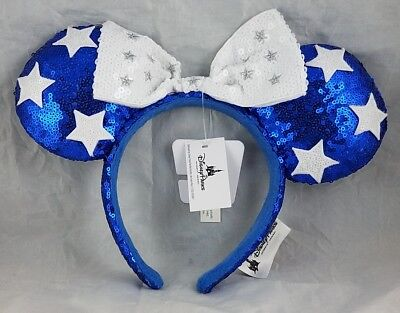 Disney Parks Minnie Mouse Blue Ears White Bow Stars Headband Hat Sequin - NEW