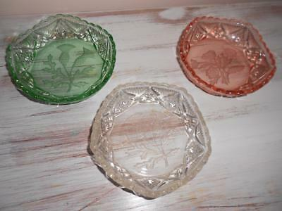 x3 Vintage Coloured Pressed Glass Dishes With Etched Scottish Thistle & Flowers