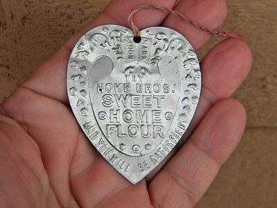 OLD Vintage PARSONS KANSAS Advertising Aluminum Heart Bookmark SWEET HOME FLOUR
