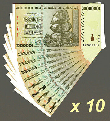 10 Pieces Zimbabwe 20 Billion Dollars 2008 Banknote UNC AA+ (Zm20B10)