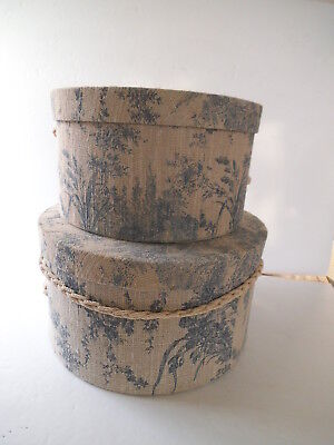 "2 Nesting HAT BOXES Blue on Beige 11.5"" / 10"""