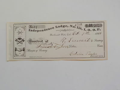 Antique Document 1886 Railroad Flat California Money Received Paper Masonic VTG