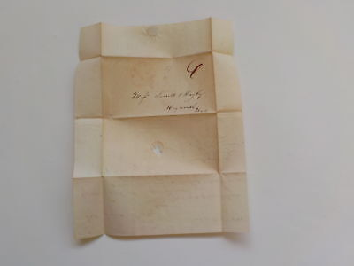 Antique Stampless Letter 1844 Weymouth Massachusetts United States Paper VTG NR