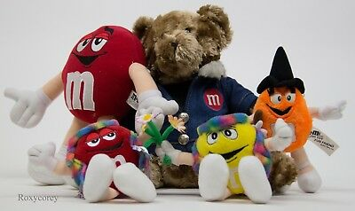 5 Assorted M&M's M&M Plush Toys Teddy Bear Hippie Witch Red Yellow Orange