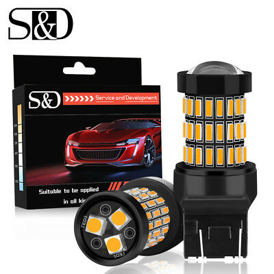 2X 7443 7440 T20 W21/5W Amber Yellow 57SMD LED Car Tail Turn Signal Light Bulbs