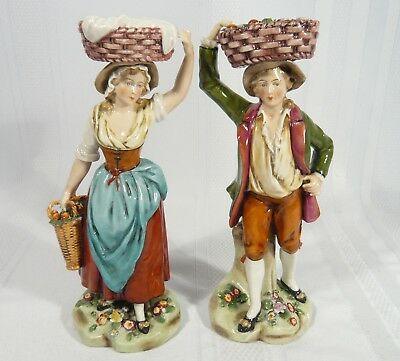 2 Antique Capodimonte 7 1/2 inch Dresden Figurines