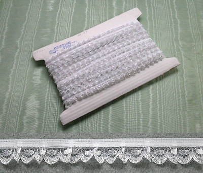 Gathered Lace White/Silver 10 Meters