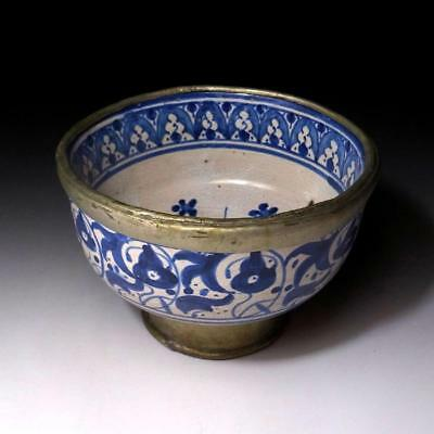 HE5 Antique Japanese Hand-painted Sometsuke Bowl, with frame, Old Seto ware, 19C