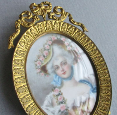 "Antique Miniature 3"" GILT Brass Frame Flowing BOW + Scrolls FRENCH Lady w ROSES"