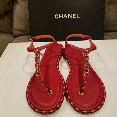 43e575700217a CHANEL 17A Leather Chain Charm Thong Ankle T Strap Flat Sandals Shoes Red C   900