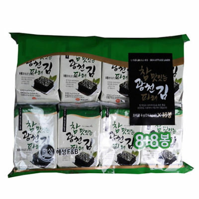 Korean Gim Roasted Salted Sea Seasoned Seaweed Nori Individual Snack (4g x 16ea)