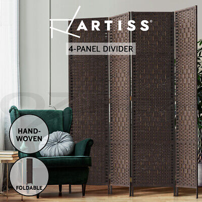 Artiss 4 Panel Room Divider Privacy Screen Rattan Frame Stand Fold Woven Brown