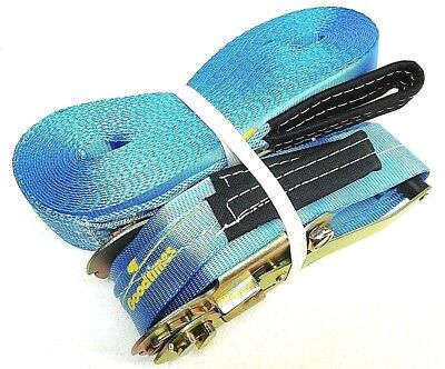 Blue Heavy Duty Strong Cargo Tie Down Ratchet Straps