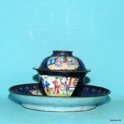 Chinese Imperial Canton Emaille Cloisonne Cup Saucer Silver Inlaid Figurs