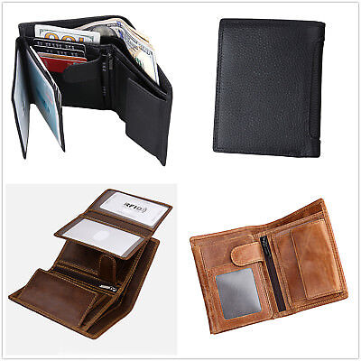 Genuine Leather Anti-RFID Blocking Mens Small Trifold Wallet Slim Compact