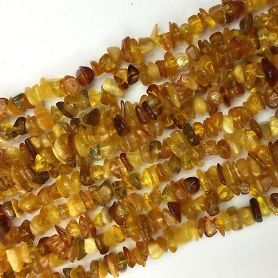 Natural Genuine Clear Yellow Amber Chip Nugget Free Form Loose Beads