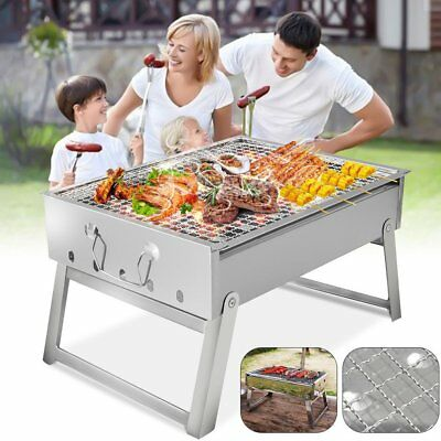 Large BBQ Barbecue Grill Folding Portable Charcoal Camping Garden Outdoor NEW