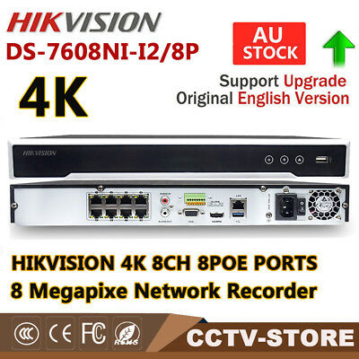 HIKVISION DS-7608NI-I2/8P 8MP 4K NVR for Camera CCTV System 8 POE Interfaces