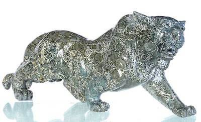 "10.83""Natural S‎ilver Leaf Jasper Tiger Carving Collectibles Home Decor AJ98"