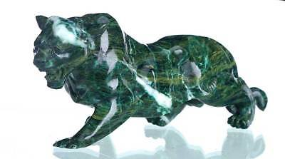 "9.25""Natural Africa Green Stone Tiger Carving Collectibles Home Decor AJ81"