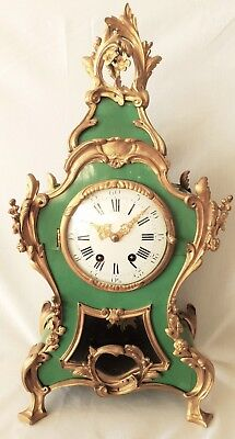 Anique Boulle Mantel Clock French 19c Complete 8 Day Bell Strike Pendulum