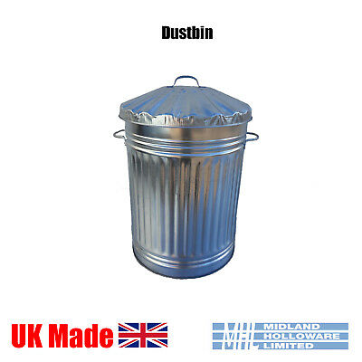 18in Galvanized Dustbin Tapered Animal Feed Storage Waste Rubbish Heavy Duty