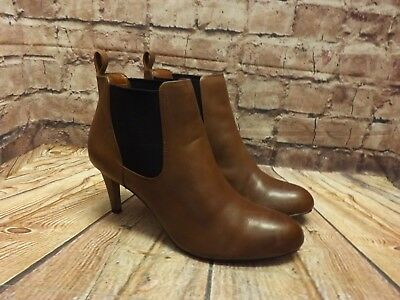 e3c4882a WOMENS CLARKS CARLITA Quinn Tan Leather Pull On Mid Heel Ankle Boots ...
