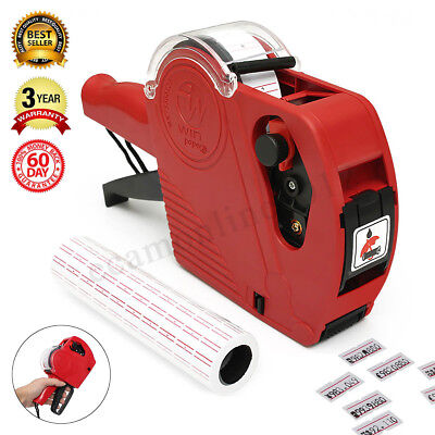 MX-5500 EOS 8 Digit Price Tag Gun Labeler+5000 White Red Lines labels+Ink Roller