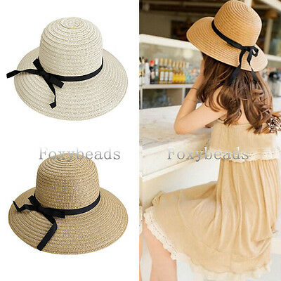 302cf959a30 Rare Womens Foldable Summer Ribbon Beach Wide Brim Bowknot Floppy Straw Sun  Hat