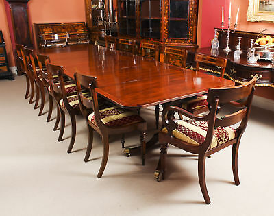 Antique George III Regency  Dining Table 19th C with 12 Bespoke Dining Chairs