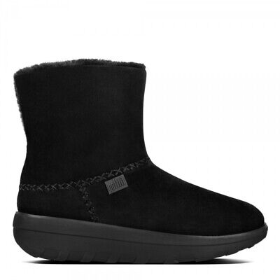 FitFlop™ MUKLUK SHORTY™ II Ladies Suede Sheepskin Warm Lined Winter Boots Black