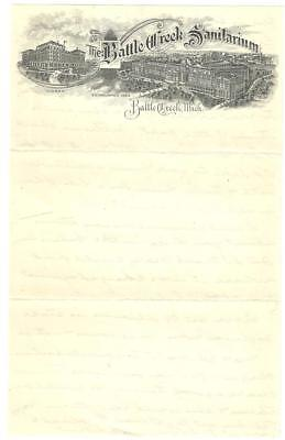 c1900 Letterhead, Battle Creek Sanitarium, Battle Creek, MI