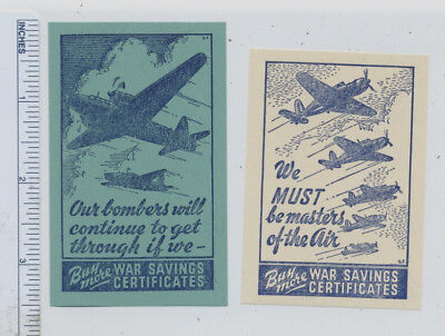 2 CANADIAN WWII War Saving Certificates POSTER STAMPS Bombers & Masters of Air