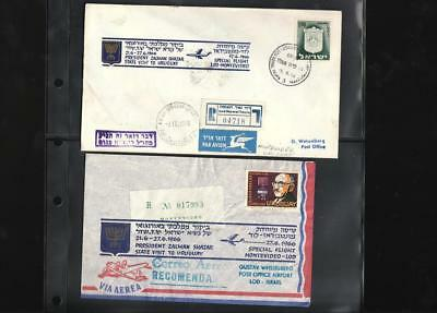 Israel Two 1966 Flight Covers To Uruguay. Interesting ! See Pictures