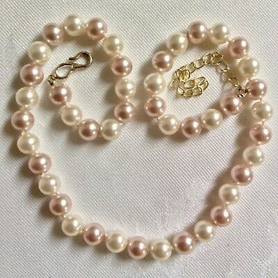 Stunning Vintage Iridescent Cream & Pale Pink Glass Pearl Knotted Necklace