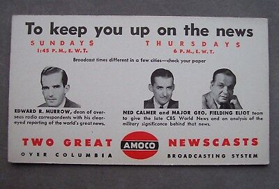 NOS Vintage AMOCO Oil Gas Advertising Blotter CBS RADIO Edward R. Murrow News