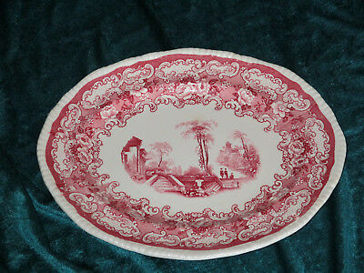 "Bishop & Stonier ATHENA RED & WHITE Transferware 11 1/4""  Platter - English"
