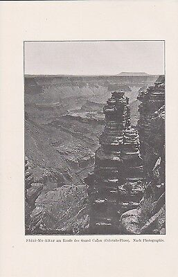 Grand-Canyon Shini-Mo-Altar LITHOGRAPHIE von 1901 Colorado