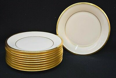 Set of 10 Lenox 'Eternal' Gold Trim and Cream Bread Plates