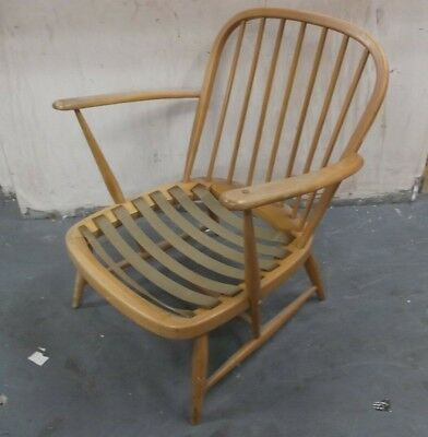 Vintage Retro ERCOL Windsor Elm & Beech Blonde Carver Lounge Chair Frame - R29