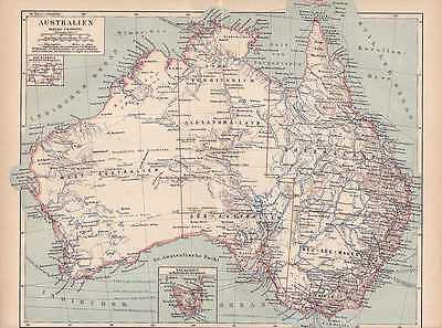 AUSTRALIEN Neuseeland Queensland LANDKARTE von 1874 New South Wales Tasmanien