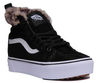 fcc793a5e0f992 Vans SK8 HI Platform MTE Women Suede Leather Black Leopard Fur Hi Top  Trainers U