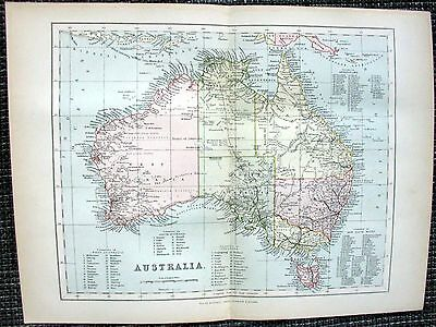 Australien Australia Queensland New South Wales Landkarte von 1890 MAP