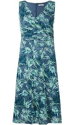 Brand New Ex M&S Lined Cotton Blend Floral Dress Sizes 8-10-12-14-16-18-20-22-24